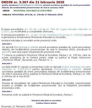 Metodologia de acordare a gradației de merit sesiunea 2020