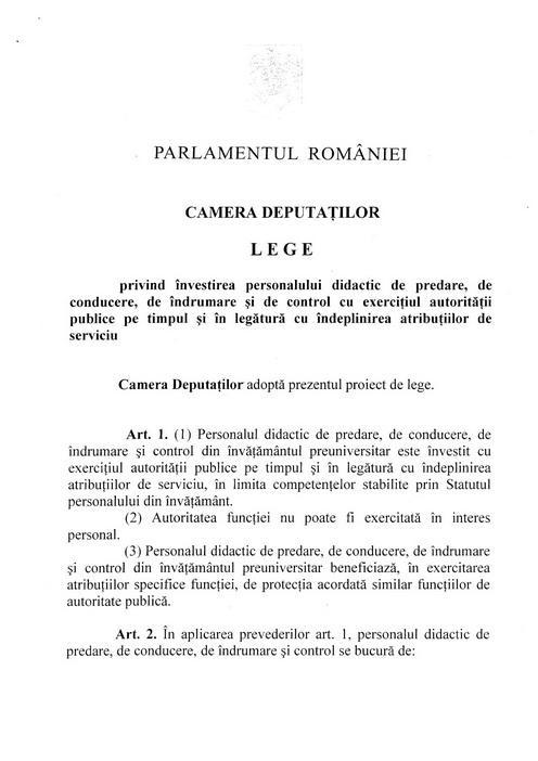 Proiectul de lege privind protecţia cadrelor didactice